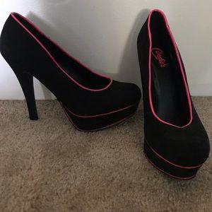 "Black with hot pink trim 5"" inch heels"
